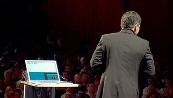 Speaker Shai Agassi at a Ted Conference using Presenter View | Graphic Courtesy Garr Reynolds